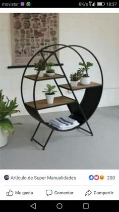 The Metal And Wood Round Shelf features an elegant design with sturdy wooden shelves with round metal frame.Color: Metal frame Material: Metal & Wooden Shelf Round Shape Metal And Wood Round Shelf Dim Iron Furniture, Steel Furniture, Modern Furniture, Home Furniture, Furniture Design, Outdoor Furniture, Luxury Furniture, Antique Furniture, Furniture Stores