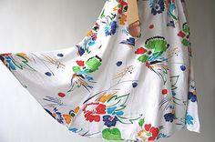 Vintage crinkled rayon shirt-dress with trumpet hemline. Bright, abstract watercolor floral print on white. 1980s Dresses, Vintage Dresses, Trumpet Skirt, Abstract Watercolor, Teal Blue, Hemline, Floral Prints, Bright, Shirt Dress