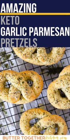 Quick Keto Meals, Easy Meals, Low Carb Recipes, Healthy Recipes, Bread Recipes, Pretzels Recipe, Keto For Beginners, Garlic Parmesan, Keto Bread