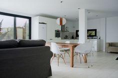 Exterior Design, Hardwood Floor Repair Dark Framing Windows White Chairs Also Kitchen Area: Amusing Infiniski Menta House Hardwood Floor Rep...