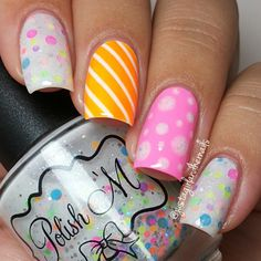 Neon Multicolor Nails With Polka Dots and Stripes.