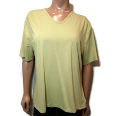 Olsen Europe Vneck Tshirt Womens Size 16 XL Neon Green Soft Stretchy Viscose #Olsen #Basic #Casual Xl, Underarm, Size 16, V Neck T Shirt, One Shoulder, Blouses, Neon, T Shirts For Women, Sleeves