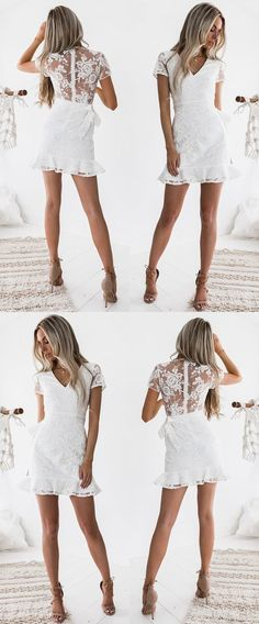 Sheath V-neck Short Sleeves Short White Lace Homecoming Cocktail Dress
