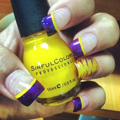 #ShowYourHorns with this #Vikings purple Gold french manicure