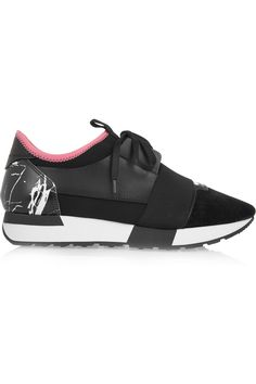 Balenciaga | Leather, suede and neoprene sneakers | NET-A-PORTER.COM