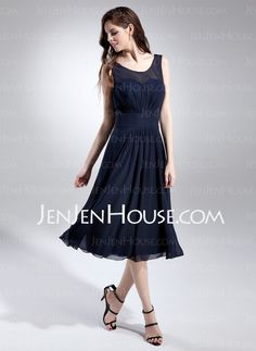 Bridesmaid Dresses - $106.99 - A-Line/Princess Scoop Neck Tea-Length Chiffon Bridesmaid Dress With Ruffle (007015677) http://jenjenhouse.com/A-Line-Princess-Scoop-Neck-Tea-Length-Chiffon-Bridesmaid-Dress-With-Ruffle-007015677-g15677