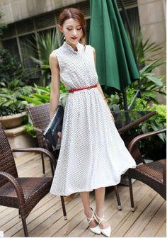 Đầm maxi đẹp vintage chấm bi cổ trụ