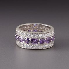 Sterling Silver Amethyst & White CZ Eternity Band by Lenox