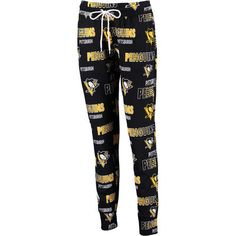 Women's Pittsburgh Penguins Concepts Sport Black Sweep All Over Print Knit Pajama Pants Size XL - OR in MEN'S XL