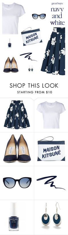 """""""Navy and White"""" by molly2222 ❤ liked on Polyvore featuring RE/DONE, Jimmy Choo, Maison Kitsuné, Tory Burch, Butter London, Silver Forest, navy and kitsune"""