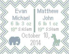 Modern Baby Cross Stitch Pattern for Twins with Chevron Border, Elephant Giraffe Personalized by oneofakindbabydesign on Etsy Baby Cross Stitch Patterns, Cross Stitch Baby, Baby Patterns, Cross Stitching, Cross Stitch Embroidery, Nursery Twins, Baby Twins, Chevron Borders, Birth Records