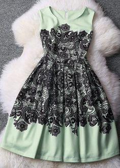 Printed Slim Lace Sleeveless Dress