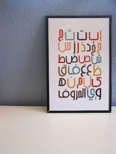 Modern Arabic Alphabet Poster by Waafia on Etsy Learn Arabic Alphabet, Alphabet Symbols, Hand Lettering Alphabet, Cross Stitch Art, Cross Stitch Alphabet, Modern Cross Stitch, Arabic Design, Arabic Art, Islamic Art Pattern