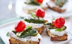 Peppadew® Peppers, grilled courgette and ricotta crostini