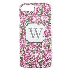 Flourish Vintage Folk Art Pink White Monogram iPhone 8/7 Case