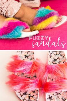 1affa36126cf Create perfect cozy slipper with this DIY Fuzzy Sandal tutorial!  diy   fuzzysandals