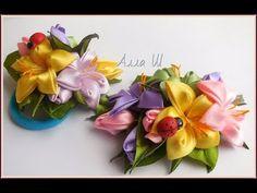 Цветы из Лент | Канзаши Мастер- Класс | KANZASHI Подарочный набор для маленькой принцессы. - YouTube