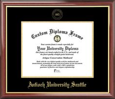 Antioch University Seattle Diploma Frame - Embossed Seal - Mahogany Gold Trim