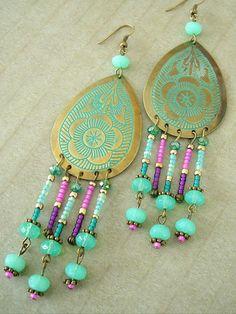 Boho Earrings, Patina Brass Chandelier Earrings, Boho Chic Chandelier Earrings, Gypsy, Bohemian  $38 - love these colors