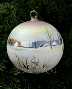 Hand painted glass balls by ArtWilk Glass Christmas Balls, Painted Christmas Ornaments, Christmas Tree Design, Hand Painted Ornaments, Christmas Art, Christmas Projects, Christmas Tree Decorations, Lightbulb Ornaments, Beaded Ornaments