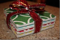 Cute coasters made from tiles. Great gift idea!...I have done some with pictures, but love the stensil and paint idea!