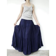 No.5 Indigo Blue Cotton Hippie Gypsy Boho Tiered Long Peasant Skirt ($40) ❤ liked on Polyvore featuring skirts, grey, women's clothing, bohemian maxi skirt, tiered maxi skirt, blue maxi skirt, gypsy skirt and long grey skirt