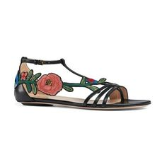 Women's Gucci Ophelia Flower Sandal (41.695 RUB) ❤ liked on Polyvore featuring shoes, sandals, black leather, black sandals, gucci sandals, black caged sandals, leather shoes and black strappy sandals