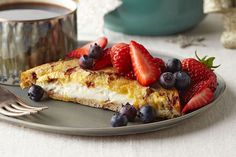 Serve this Stuffed Overnight French Toast while the cream cheese is all warm and melty, and your houseguests will think they stumbled into a five-star B&B!