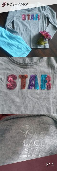 "PRICE ✂ Girls long-sleeved tee, size 5/6 Heather grey, long-sleeved t-shirt with embellished ""star."" EUC Children's Place Shirts & Tops Tees - Short Sleeve"