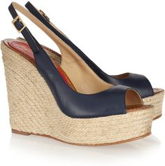 Paloma Barceló Leather espadrille wedge sandals at ShopStyle