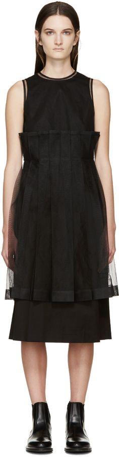 Noir Kei Ninomiya - Black Pleated Tulle Dress