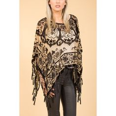 Jayley Black Gold Silk Devore Poncho found on Polyvore featuring women's fashion, outerwear and silk poncho