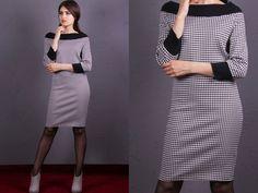 Ein Kleid für alle Fälle . Egal ob für Job-Alltag oder feierlichen Anlässen. Bequemes Kleid aus Jersey mit Hahnentritt Muster Größe: XS (34/36); S (EU 36/38); M (EU 38/40) und auf anfrage auch...