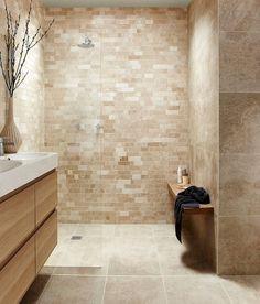 Tops Tiles Antalya Cream Irregular Linear Mosaic a tile Size x. Tops Tiles Antalya Cream Irregular Linear Mosaic a tile Size x cm Code 041300 Beige Tile Bathroom, Cream Bathroom, Bathroom Tile Designs, Mosaic Bathroom, Bathroom Trends, Bathroom Floor Tiles, Bathroom Interior Design, Modern Bathroom, Bathroom Ideas