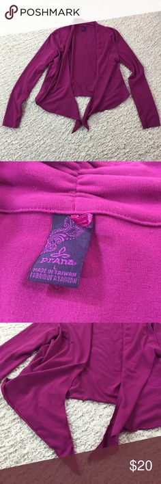 Prana yoga wrap open cardigan purple L Like new. Approximate flat measurements: width and length 19in. Prana Sweaters Cardigans