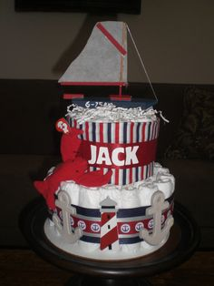 Nautical Beach Themed Diaper Cake by bearbottomdiapercakes on Etsy, $50.00
