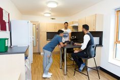 Mountain Halls Standard: kitchens are shared between five students. Most set up a rota to share the cleaning. Mountain Halls standard: kitchens come with a cooker, toaster, kettle and microwave. There are two freezers and each bedroom has its own mini fridge.