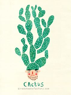 Cactus. Prompt #1 for the 30 days @spoonflower drawing challenge by @redcheeksfacts Just adorable!