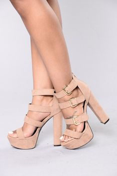 - Available in Black and Taupe - Multiple Metallic Buckles - Back Zipper - Faux Suede - 1 1/2 Inch Platform, 5 1/8 Inch Heel