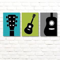 Diy Wall Art, Nursery Wall Art, Wall Art Decor, Wall Art Prints, Nursery Decor, Guitar Nursery, Guitar Wall Art, Guitar Bedroom, Music Nursery