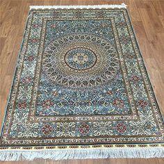 Camel Carpet Blue Hand Knotted Silk Area Rug Pads 4'x6' http://www.amazon.com/dp/B01DP9T6WK/ref=cm_sw_r_pi_dp_.Agixb04CJCNV