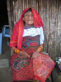 San Blas Island, home of the Kuna Indians. Native dress is the Mola...fascinating needlework.
