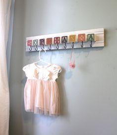 Custom Nursery Name Storage Rack by bluebirdheaven on Etsy Nursery Name, Nursery Themes, Girl Nursery, Nursery Decor, Nursery Ideas, My Baby Girl, Baby Love, Baby Crafts, Diy And Crafts