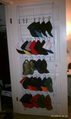 Ballcap Rack To Hang On Back Of Closet Door Made Out Of Shoe Hanger With  Rodsu2026