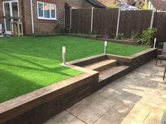 sloped garden landscaping - Famous Last Words Back Garden Landscaping, Garden Paving, Sloped Garden, Garden Yard Ideas, Backyard Patio Designs, Landscaping Ideas, Garden Ideas For Sloping Gardens, Gardens On A Slope, Outdoor Landscaping