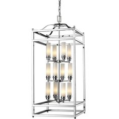 Traditional styling meets modern functionality in this twelve light fixture. Matte opal cylindrical shades are combined with polished nickel hardware for a crisp, cutting edge look that still has classic appeal.
