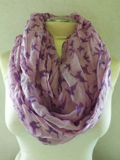 Gorgeous Purple Lavender Swallow Bird Infinity Eternity Loop Scarf on Etsy, $17.00