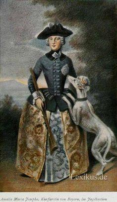 Amalia Maria Josepha, Kurfürstin von Bayern, im Jagdkostüm. Lady in riding habit and her dpg