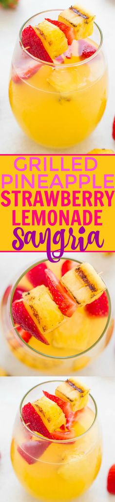 Grilled Pineapple Strawberry Lemonade Sangria - EASY, light, refreshing, and perfect for your next warm weather PARTY! Grilling brings out pineapple's natural sweetness and it's DELISH! Fruit Drinks, Beverages, Kid Drinks, Alcoholic Drinks, Strawberry Lemonade Sangria, Pineapple Lemonade, Smoothies, Tasty, Yummy Food