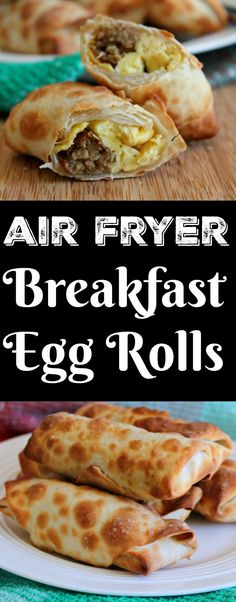 air fryer recipes breakfast Breakfast Egg Rolls Air Fryer - These breakfast egg rolls are filled with scrambled eggs, cheese and whatever other breakfast items you like. I've air fried them to keep them a little bit lighter. Air Fryer Recipes Breakfast, Air Fryer Oven Recipes, Air Fry Recipes, Air Fryer Dinner Recipes, Brunch Recipes, Cooking Recipes, Healthy Recipes, Airfryer Breakfast Recipes, Delicious Recipes